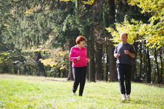 Seniors couple jogging Stock Images