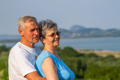Seniors couple in outdoors Royalty Free Stock Photography