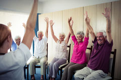 Seniors doing exercises Stock Photo
