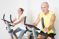 Seniors doing spinning Royalty Free Stock Images