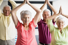 Seniors doing yoga with closed eyes. In a retirement home royalty free stock photo