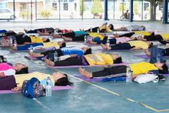 Seniors doing yoga exercising royalty free stock photo