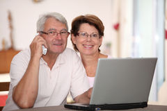 Seniors and domestic technology Stock Photo