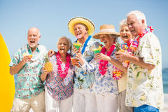 Seniors drinking cocktails Royalty Free Stock Photography