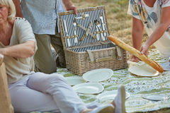 Seniors eating baguette at a picnic Royalty Free Stock Images