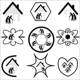 Seniors / Elderly Housing Logo Set Royalty Free Stock Image