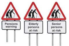 Elderly people at risk signs. Set of elderly and senior persons at risk road signs with pension warning concept stock photos