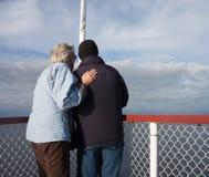 Seniors enjoying the lake on cruise Royalty Free Stock Photos