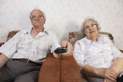 Seniors Enjoying Television Stock Images