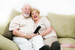 Seniors Enjoying Television Royalty Free Stock Images