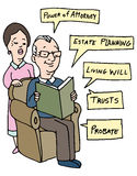 Seniors Estate Planning Research stock illustration