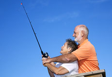 Seniors Fishing - Casting Lesson Royalty Free Stock Image