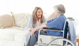Seniors friends talking together Stock Images