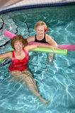 Seniors friends water exercise stock photography