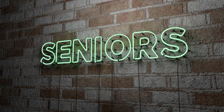 SENIORS - Glowing Neon Sign on stonework wall - 3D rendered royalty free stock illustration Stock Photo