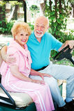 Seniors In Golf Cart royalty free stock photos