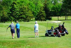 Seniors golfing. Three senior men on golf course with a golf cart Stock Photography