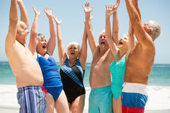Seniors with hands up at the beach Stock Images