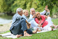 Seniors having fun taking selfie on a pic-nic Stock Photography