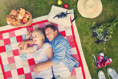Seniors having a picnic Royalty Free Stock Images
