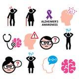 Seniors health - Alzheimer's disease and dementia, memory loss icons set Stock Photo