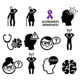 Seniors health - Alzheimer's disease and dementia, memory loss icons set Royalty Free Stock Images