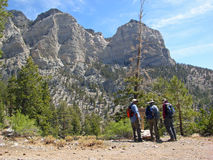 Seniors hiking in Spring Mountains near Las Vegas. NV. Image shows seniors hiking in Spring Mountains near Las Vegas. NV. The hiking trail is called Trail stock photos