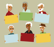 Seniors holding blank card Stock Photos