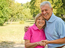 Seniors holding hands. Active seniors in love holding their hands and smiling in the park royalty free stock photo