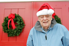Seniors holiday,Santa grandpa Royalty Free Stock Photography