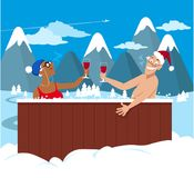 Seniors in a hot tub. Happy couple of active seniors drinking wine in a hot tub, winter mountain landscape on the background, EPS 8 vector illustration Royalty Free Stock Photos