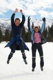 Seniors jumping Royalty Free Stock Photography