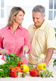 Seniors at kitchen Royalty Free Stock Photos