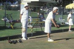 Seniors lawn bowling, Royalty Free Stock Image