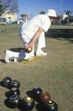 Seniors lawn bowling, Santa Monica, CA Royalty Free Stock Photography