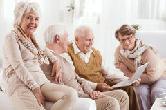 Seniors learning computer skills Royalty Free Stock Image