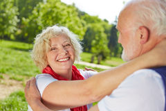 Seniors in love dancing in nature Royalty Free Stock Images