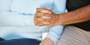 Seniors in love holding hands Royalty Free Stock Image