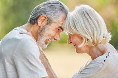 Seniors in love looking each other in the eyes Stock Photography