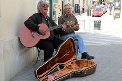 Seniors making street music in the capital city of Gozo