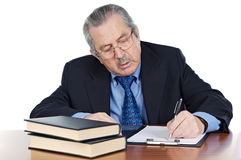 Seniors man writing Stock Photos