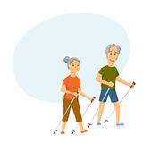 Seniors nordic walking. Pensioners walk together. Old man and women leisure. Cartoon character sport vector illustration. Elderly people hiking and have a fun Stock Photography