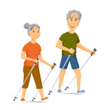Seniors nordic walking Royalty Free Stock Photos