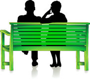 Seniors at park bench Stock Photos
