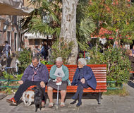 Seniors at park in the sun Royalty Free Stock Photography