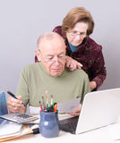 Seniors Paying Bills. A couple of senior citizens paying bills or preparing taxes Stock Photo