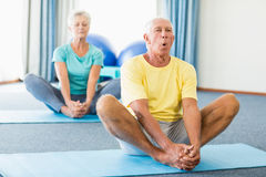 Seniors performing yoga. In a studio Royalty Free Stock Photography