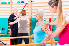 Seniors in physical rehabilitation therapy Royalty Free Stock Images