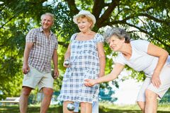 Free Seniors Play Boule Or Bocce Together Stock Photography - 178989442