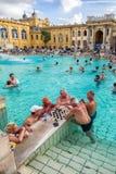 Seniors playing chess at Szechenyi thermal bath in Budapest, Hun Royalty Free Stock Photo